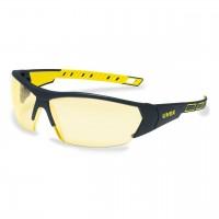 Защитные очки UVEX Ай-воркс, янтарная линза, черный/желтый