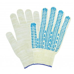 Перчатки хб ЛЮКС белые с ПВХ Точка, Волна, Протектор 10ый класс
